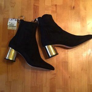 Zara gold heel zip black ankle boot